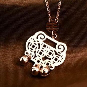 【米蘭精品】玫瑰金純銀項鍊鏤空銅錢鈴鐺如意飾品