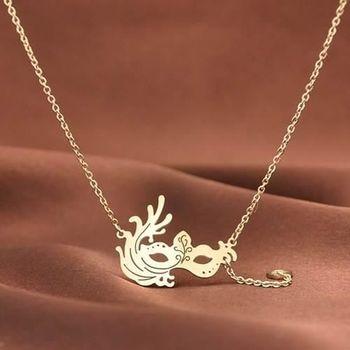 【米蘭精品】玫瑰金純銀項鍊時尚創意面具飾品