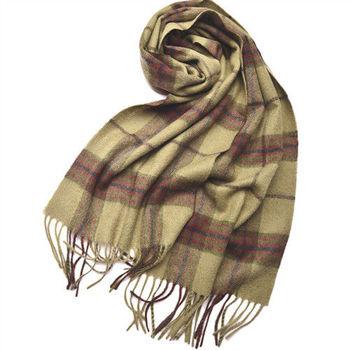 經典格紋100%羊毛圍巾(黃綠格紋)