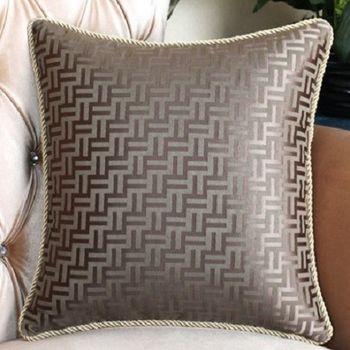 【協貿】灰咖簡約時尚線條沙發大抱枕含芯