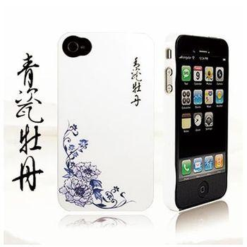 Ur Pin iPhone4崁入式保護殼(青花系列-青瓷牡丹)+送螢幕保護貼