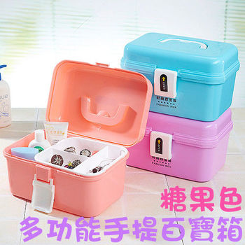 手提化妝箱 【 糖果色多功能手提百寶箱 】 化妝箱哪裡買 急救箱 收納箱 (兩入一組)