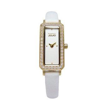 NATURALLY JOJO 世紀閃耀對決晶鑽時尚女性皮革腕錶-白+金-JO96876-80K