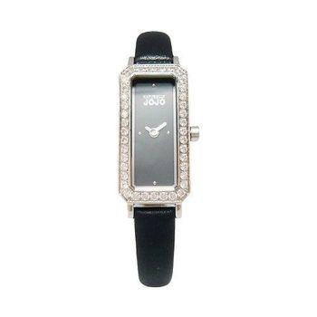 NATURALLY JOJO 世紀閃耀對決晶鑽時尚女性皮革腕錶-黑-JO96876-88F