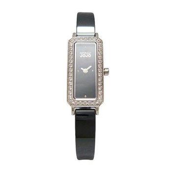 NATURALLY JOJO 世紀閃耀對決晶鑽時尚女性陶瓷腕錶-黑-JO96875-88F