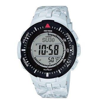 CASIO PRO TREK 雪山迷彩登峰造極運動休閒腕錶-白-PRG-300CM-7