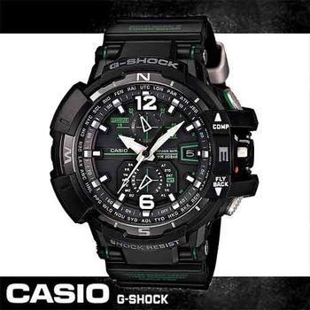 【CASIO 卡西歐 電波錶】旗鑑款-飛行太陽能電波錶(GW-A1100)