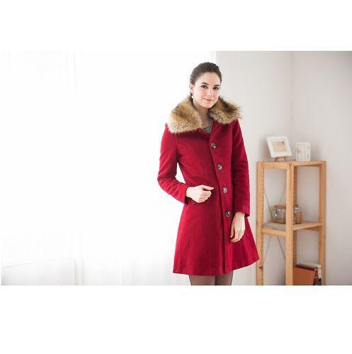 日本Impress專櫃限量羔羊毛大衣(紅)