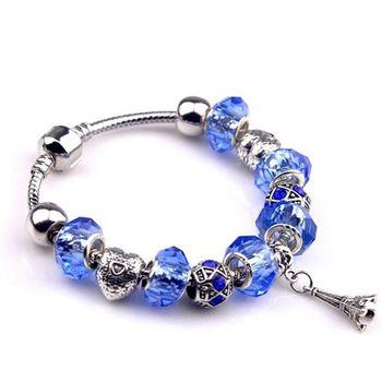 【米蘭精品】925純銀手鍊潘朵拉元素串珠水晶創意鐵塔飾品