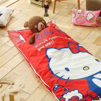 HO KANG 三麗鷗授權 冬夏鋪棉兩用兒童睡袋 加大款-遊戲屋紅