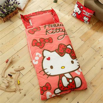 HO KANG 三麗鷗授權 冬夏鋪棉兩用兒童睡袋 加大款-蝴蝶結甜心(紅)