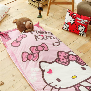 HO KANG 三麗鷗授權 冬夏鋪棉兩用兒童睡袋 加大款-蝴蝶結甜心(粉)