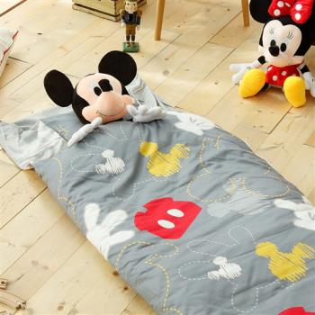HO KANG 迪士尼授權 冬夏鋪棉 100%純棉兩用兒童睡袋 加大款-米奇塗鴉