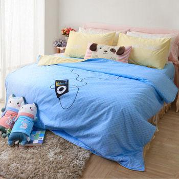 【R.Q.POLO】胖卡系列 音浪時代 加厚版新絲柔/雙人加大床包兩用被四件組(6X6.2尺)