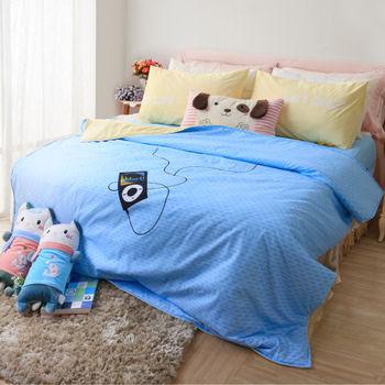 【R.Q.POLO】胖卡系列 音浪時代 加厚版新絲柔/雙人標準床包兩用被四件組(5X6.2尺)