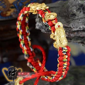【財神小舖 】雙金蟾元寶五色線手鍊-紅色《含開光》助財生財,旺財辟邪