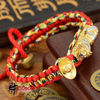 【財神小舖 】三色錢虎發財五色線手鍊(大)紅色《含開光》 咬錢虎/虎爺
