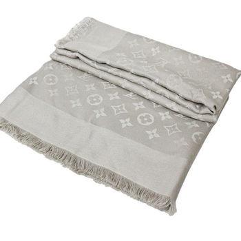 LV M71336 Monogram 經典花紋羊毛絲綢披肩圍巾.米色_預購