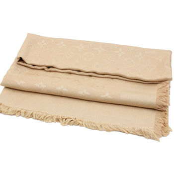 LV M71360 Monogram 經典花紋羊毛絲綢披肩圍巾.沙色_預購