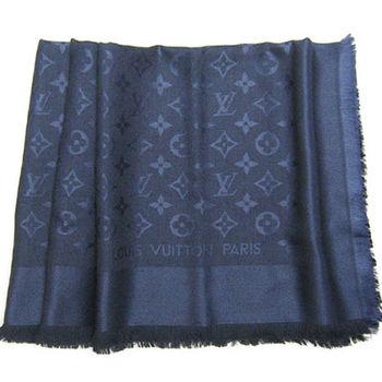 LV M72412 Monogram 經典花紋羊毛絲綢披肩圍巾.深藍色_預購