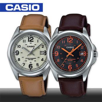 【CASIO 卡西歐】太陽能電力_真皮錶帶紳士腕錶_鏡面4.1cm(MTP-S101L)