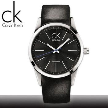 【瑞士 CK手錶 Calvin Klein】黑面_不鏽鋼錶殼_皮革錶帶_時尚男錶(K2241104)