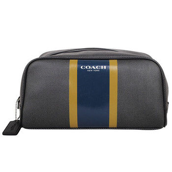 COACH PVC皮革藍黃條紋萬用手拿包(大/黑灰)