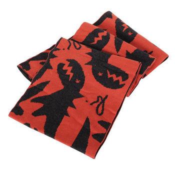 agnes b. SPORT b.系列恐龍圍巾(橘底/鐵灰恐龍)