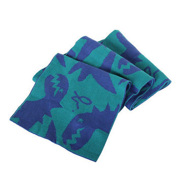 agnes b. SPORT b.系列恐龍圍巾(綠底/藍恐龍)