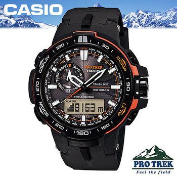 【CASIO 卡西歐 登山錶 系列】沉穩黑色數位指針雙顯設計(PRW-6000Y)