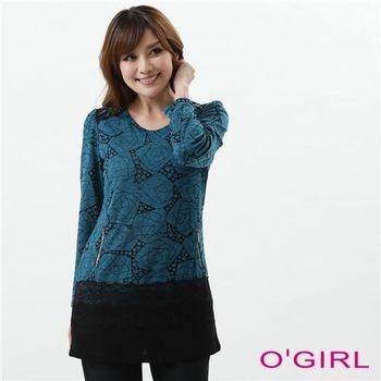 OGIRL時尚淑女禪線蕾絲貼片上衣