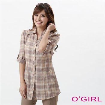 OGIRL學院風格紋口袋七分袖上衣