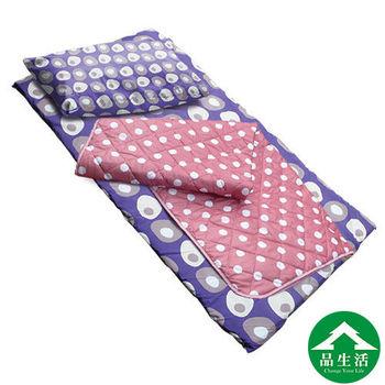 【品生活】捲床組3x6尺單人-(床墊+枕頭+涼被)-普普風