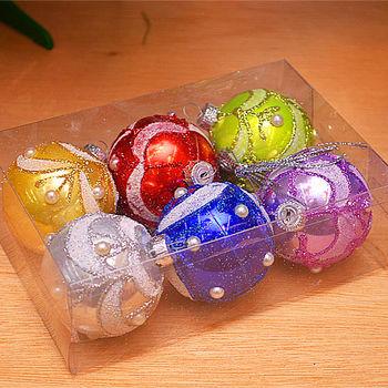 【X mas聖誕特輯】6入裝飾特殊造型鍍金球-75mm 寶石總匯 BT-5310