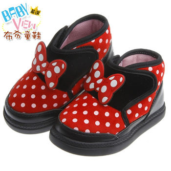 《布布童鞋》Disney迪士尼經典米妮防護保暖靴(13~16公分)MLM248D