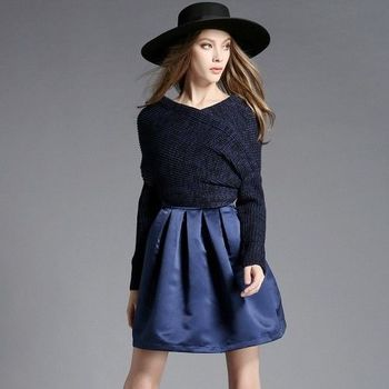 【M2M】 時尚不規則針織蓬蓬裙擺修身顯瘦連衣裙