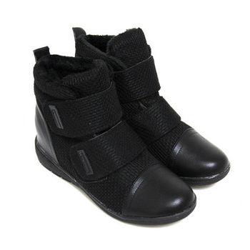 【Pretty】率性暖冬混織毛線拼接魔鬼氈休閒鞋-黑皮
