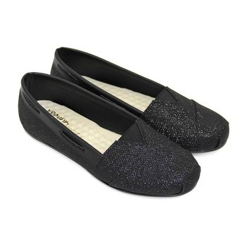 【Pretty】閃耀金蔥拼接休閒平底懶人鞋-銀色、黑色