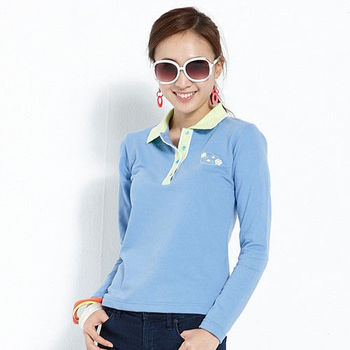 【ABEL FOXS】女版長袖 POLO 衫(F9345A-13)天藍