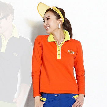 【ABEL FOXS】女版長袖 POLO 衫(F9347A-02)橘
