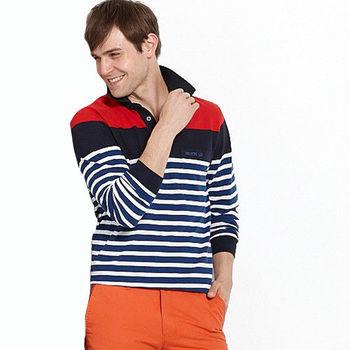【Vallatno Leo】男版提花長袖 POLO 衫(VW4301-07)藍/紅