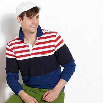 【Vallatno Leo】男版提花長袖 POLO 衫(VW4303-08)藍/紅