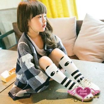 天使霓裳 可愛熊貓條紋兒童中筒襪-2雙入(白黑) -CF151112
