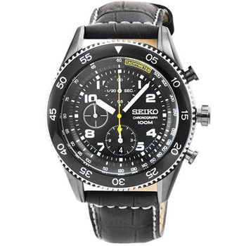 SEIKO精工特務三眼計時賽車皮帶錶-黑 / SNDG61P1
