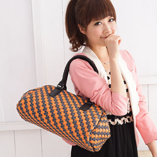 【Miyo】巴黎時尚風牛仔布雙層編織復古醫生包(藍橙色)