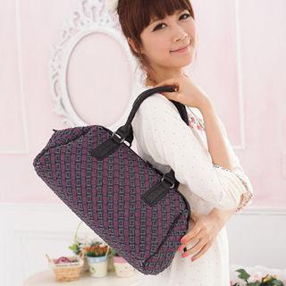 【Miyo】巴黎時尚風牛仔布雙層編織復古醫生包(藍紫色)