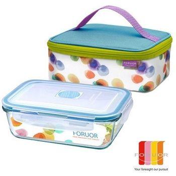 【法國FORUOR】水彩點點耐熱玻璃保鮮盒提袋組800ml