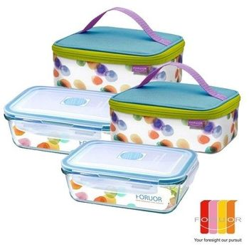 【法國FORUOR】水彩點點耐熱玻璃保鮮盒提袋組800ml 2入組