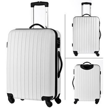 【AOU微笑旅行】28吋旅行箱 防刮行李箱 TSA海關鎖(白色90-008A)