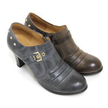 【GREEN PHOENIX】微醺品味金屬皮扣抓皺釘扣手染臘感牛皮粗高跟牛津鞋-藍色、可可色